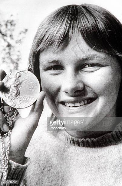 Olympic Games Munich West Germany Swimming Women's 200 Metres Relay Australia's Shane Gould with her gold medal