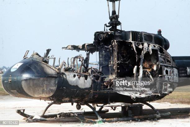 Olympic Games Munich West Germany The remains of the helicopter which ws used by Arab guerillas to escape from the Olympic village with 11 Israeli...