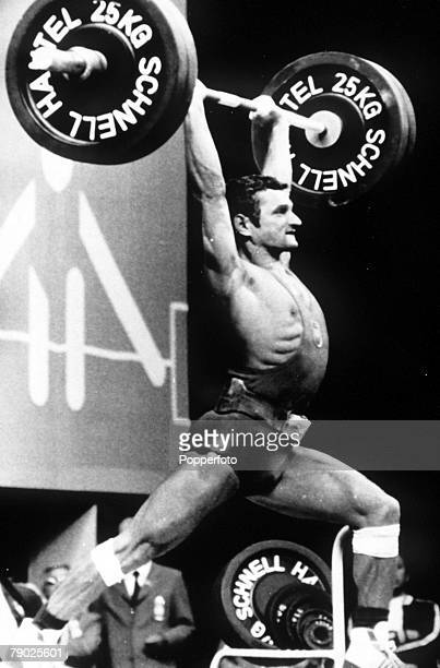 Olympic Games Munich West Germany Weightlifting Flyweight Poland's Zygmun Smalcerz in action to win the gold medal