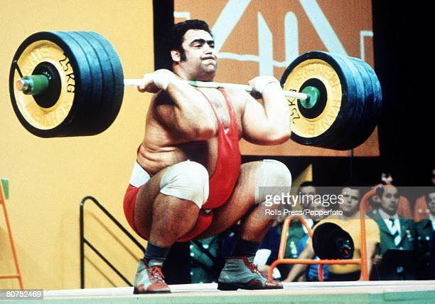 Olympic Games Munich West Germany Weightlifting Super Heavyweight USSR's Vasili Alexeyev in action to win the gold medal