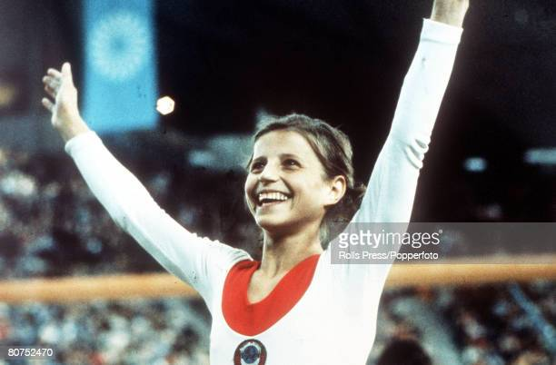 Olympic Games Munich West Germany Women's Gymnastics USSR's Olga Korbut celebrates after winning one of her three gold medals