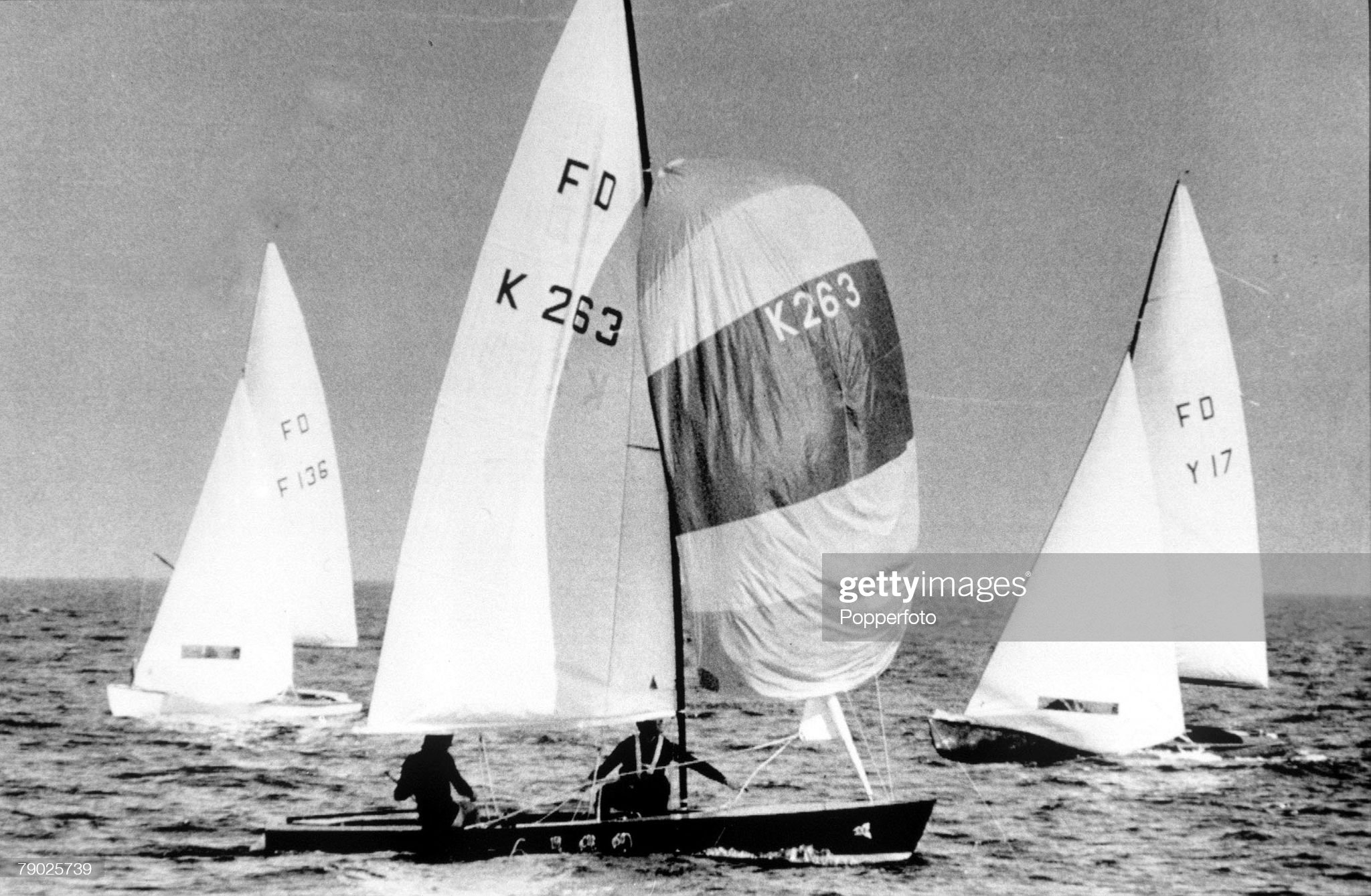 1972 Olympic Games. Munich, West Germany. Yachting. Flying Dutchman Class. Great Britain's Rodney Patterson and Chris Davies (K263) in action to win the gold medal. : News Photo