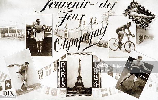 Olympic Games Paris France A souvenir postcard produced for the 1924 Olympic Games