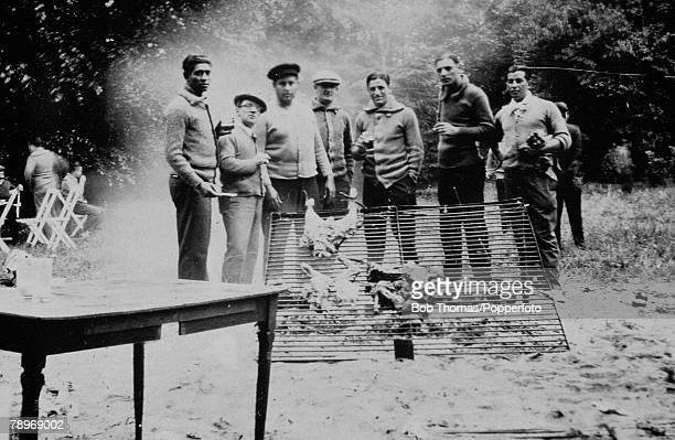 Olympic Games, Paris, France, Football,The Uruguay team relax in the ground's of Marie Pain's house at Argenteuil as they prepare a barbeque,...