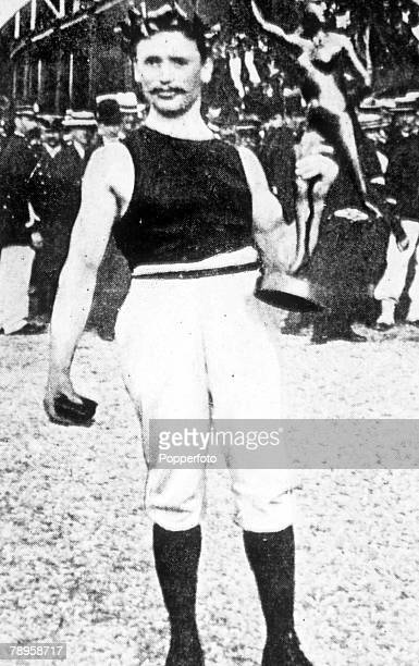 Olympic Games, Paris, France, Gymnastics, France's Gustave Sandres who took the gold medal in the Individual Combined Exercises event