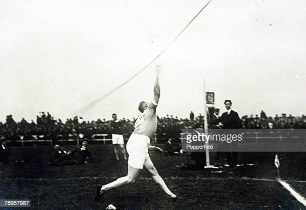 Olympic Games Paris France Javelin Finland's Jonni Myyra in action to win the gold medal