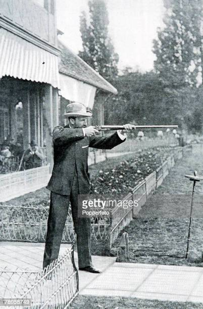 Olympic Games, Paris, France, Live Pigeon Shooting, Australia's Donald MacIntosh winner of the bronze medal with 18 birds killed