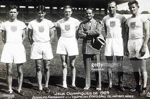 Olympic Games Paris France Men's 110 Metres Hurdles The USA team with Douglas Fairbanks