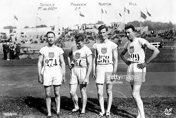Olympic Games Paris France Men's 200 MetresThe USA team LR Jackson Scholtz who took the gold medal Charles Paddock Norton and Hill