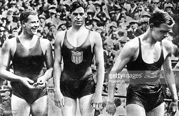Olympic Games Paris France Men's 400 Metres Freestyle Swimming USA's Johnny Weissmuller who won the gold medal in the race with Australia's Andrew...