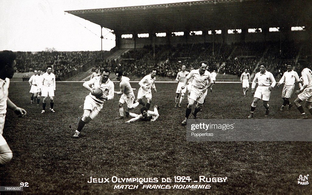 1924 Olympic Games. Paris, France. Rugby Union. Action from the game between Romania and France. : News Photo