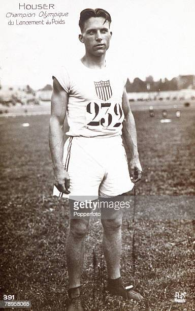 Olympic Games Paris France Shot Put USA's Clarence Houser who took the gold medal event as well as the gold for the discus