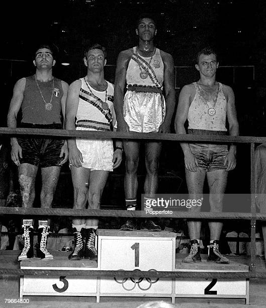 Olympic Games Rome Italy 6th September 1960 Lightweight Boxing Winner of the Olympic gold medal Cassius Clay later Muhammad Ali of USA stands on the...