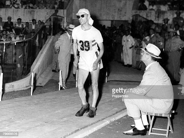 Olympic Games Rome Italy 8th September Great Britain's Don Thompson aged 27 strides into Rome's Olympic Stadium to win the gold medal in the 50...