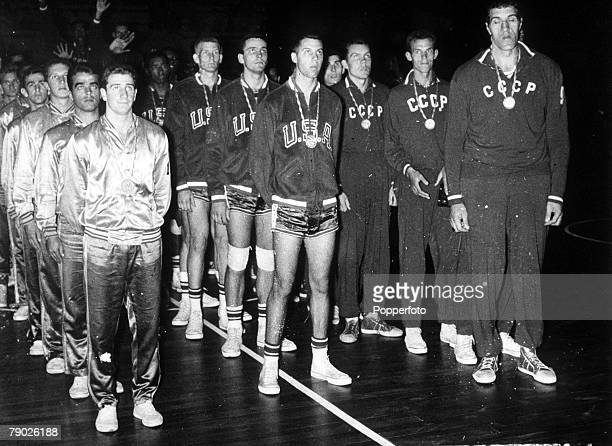 Olympic Games Rome Italy Basketball The USA team that won the gold medal line up with silver medallists USSR and bronze medallists Brazil