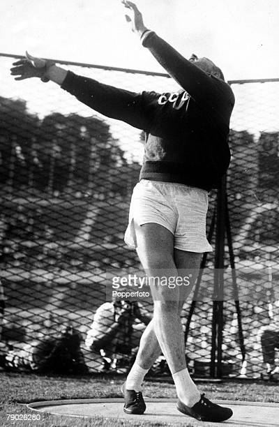 Olympic Games Rome Italy Men's Hammer Throw USSR's V Rudenkov in action to win the gold medal