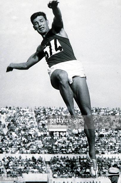 Olympic Games Rome Italy Men's Long Jump USSR's Igor TerOvanesyan in action to win the bronze medal