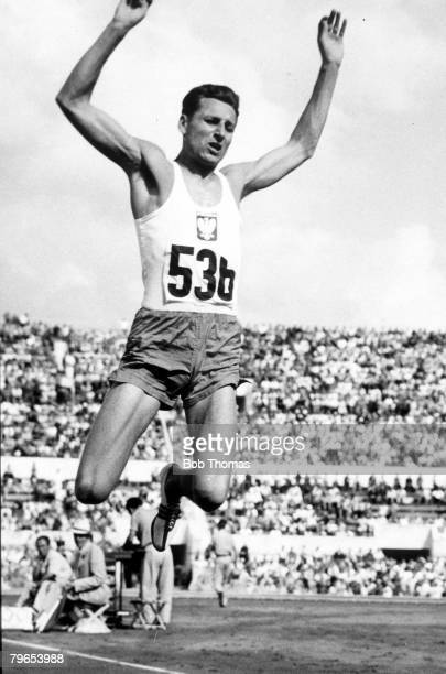 Olympic Games Rome Italy Mens Triple Jump Poland's Gold Medal winner Jozef Schmidt who jumped 55 feet and 3/4 inches