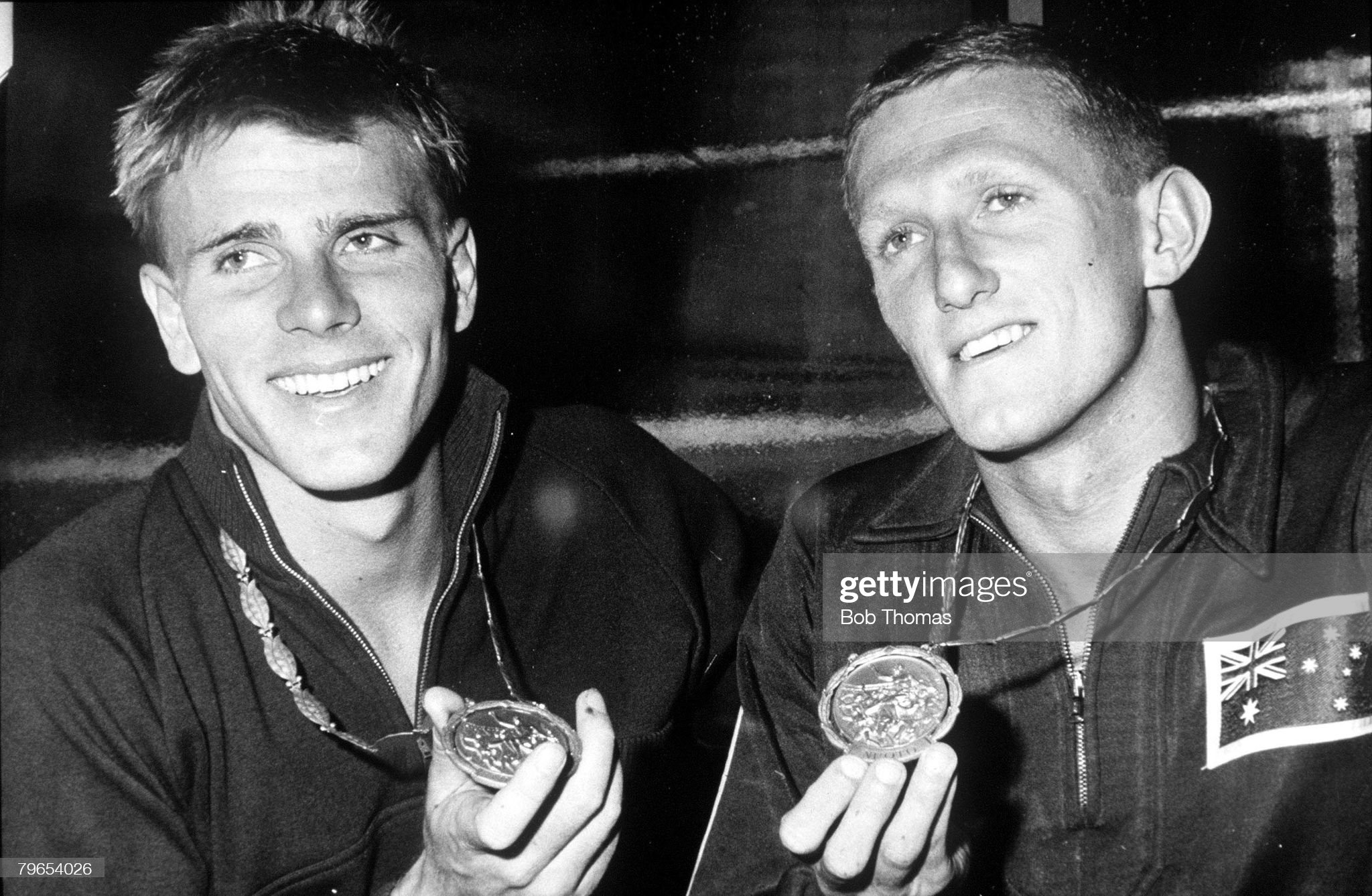 1960 Olympic Games, Rome, Italy, Swimming, Australia's 400 metres Freestyle Gold medalist Murray Rose (left) is pictured with team-mate David Theile who won Gold in the 100 metres Backstroke : Fotografía de noticias