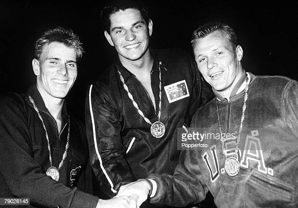 Olympic Games, Rome, Italy, Swimming, Men's 1500 Metres Freestyle, Australian gold medal winner Jon Konrads stands with fellow countryman Murray Rose...