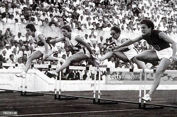 Olympic Games, Rome, Italy, Swimming, Women's 80 Metres Hurdles, USSR's Irina Press on her way to winning the gold medal followed by Great Britain's...