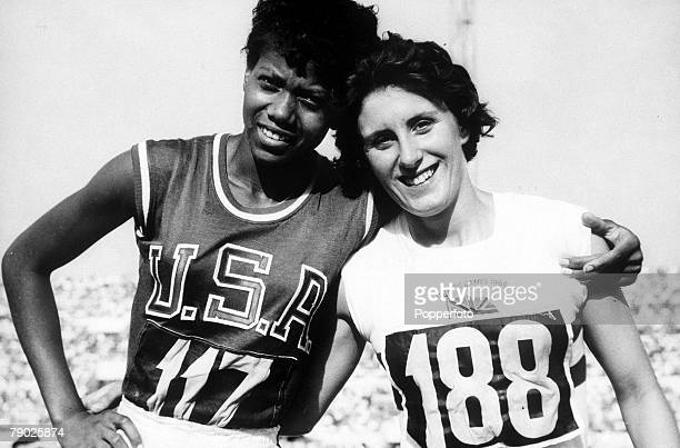 Olympic Games Rome Italy Women's 100 Metres USA's gold medal winner Wilma Rudolph with Great Britain's silver medallist Dorothy Hyman