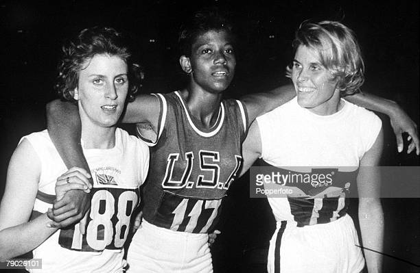 Olympic Games Rome Italy Women's 200 Metres Final USA's gold medal winner Wilma Rudolph stands with Great Britain's bronze medallist Dorothy Hyman...