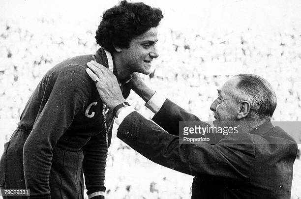 Olympic Games Rome Italy Women's 80 Metres Hurdles USSR's Irina Press receives her gold medal