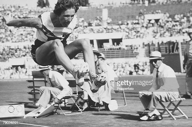 Olympic Games, Rome, Italy, Women's Long Jump, Australia's N, Fleming in action