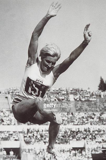 Olympic Games Rome Italy Womens Long Jump Poland's Elzbieta Krzesinska in action Silver medal