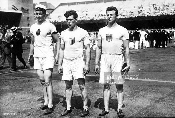 Olympic Games Stockholm Sweden BestHand Discus LR Finland's Annas Taipale who won the gold medal USA's James Duncan and USA's Richard Byrd