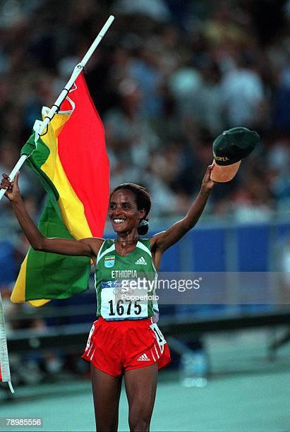 Olympic Games Sydney Australia Athletics Women's 10000m Final 25th September Derartu Tulu of Ethiopia celebrates her Gold victory