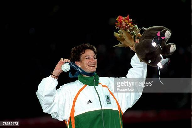 Olympic Games Sydney Australia Athletics Womens 5000m Sonia O'Sullivan of Ireland celebrates her Silver medal win 25th September 2000