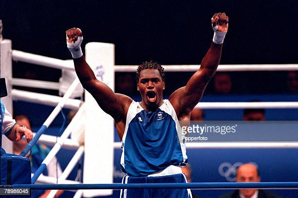 Olympic Games Sydney Australia Boxing 91kg Final 1st October Great Britain's Gold Medal winner Audley Harrison in celebratory mood after beating...