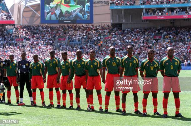 Olympic Games, Sydney, Australia, Football, Cameroon beat Spain 5-3 on penalty's after a 2-2 draw, 30th September Cameroon player's line up for a...