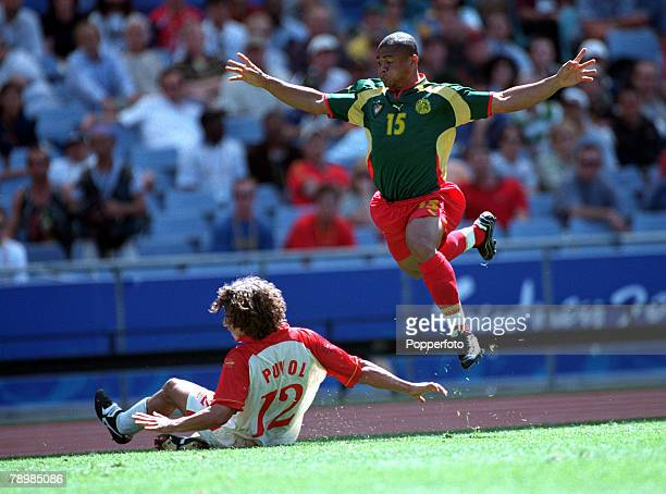 Olympic Games Sydney Australia Football Final Cameroon beat Spain 53 on penalty's after a 22 draw 30th September Joel Epalle of Cameroon takes...