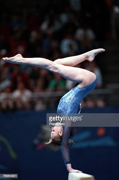 Olympic Games Sydney Australia Gymnastics Womens team event 19th September Halyna Tyryk of the Ukraine balances on the beam