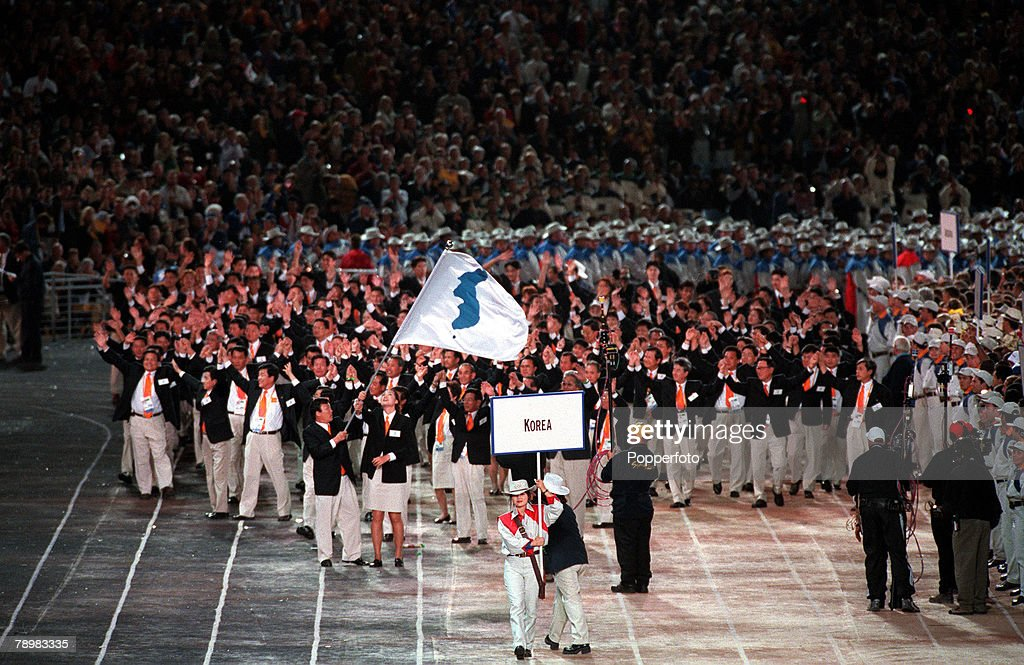 2000 Olympic Games. Sydney, Australia. The North andSouth Korea teams unite for the parade in the Opening Ceremony. 15th September 2000. : News Photo