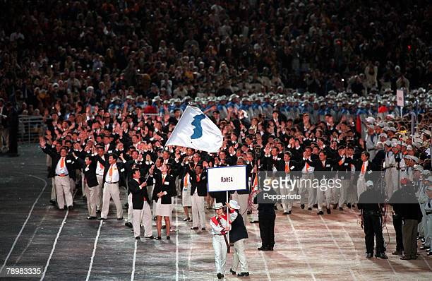 Olympic Games Sydney Australia The North andSouth Korea teams unite for the parade in the Opening Ceremony 15th September 2000