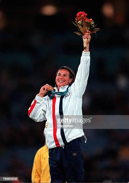 Olympic Games Sydney Australia Women's Polevault 25th September Stacy Dragila celebrates on the podium