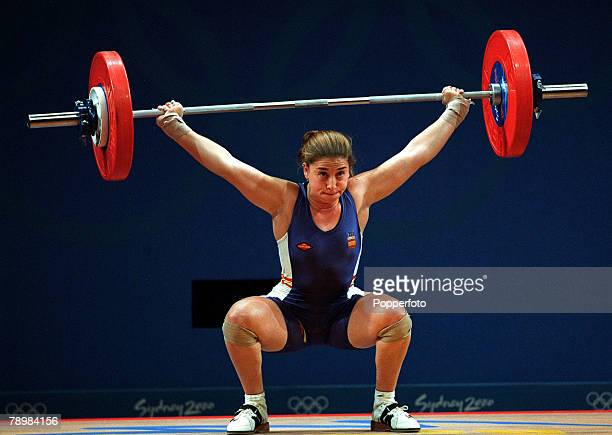 Olympic Games Sydney Australia Womens Weightlifting 63 kg 19th September Josefa Perez of Spain attempts to complete the lift