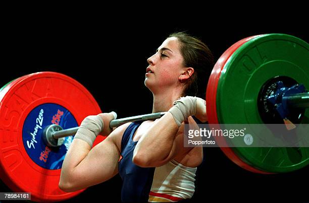 Olympic Games Sydney Australia Womens Weightlifting 63 kg 19th September Josefa Perez of Spain balances the weight before attempting the lift