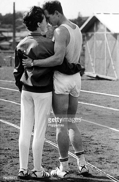 Olympic Games Tokyo Japan Great Britain's Robbie Brightwell with his fiancee Ann Packer