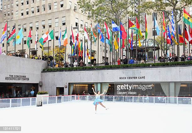 Olympic Gold Medal Champion figure skater Sarah Hughes visits The Rink at Rockefeller Center on November 4, 2011 in New York City.