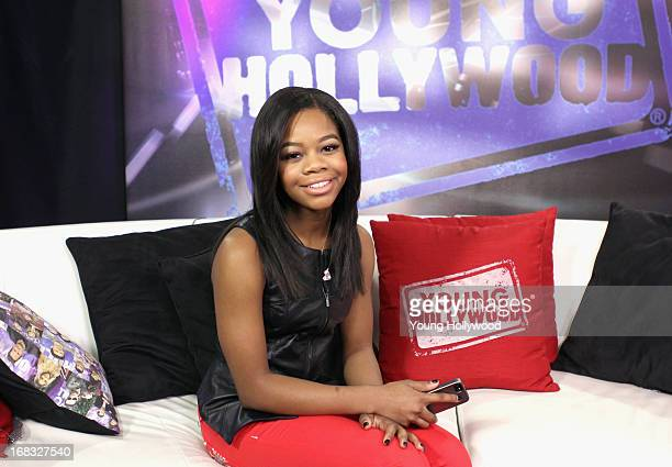 Olympic gold medal gymnast Gabrielle 'Gabby' Douglas visits the Young Hollywood studio on May 8 2013 in Los Angeles California