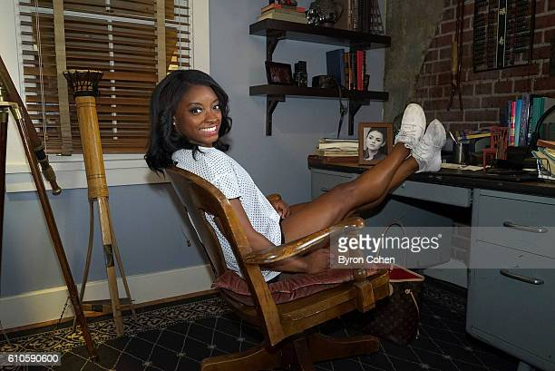 Olympic gold medal gymnast Simone Biles visits the set of 'Pretty Little Liars'' SIMONE
