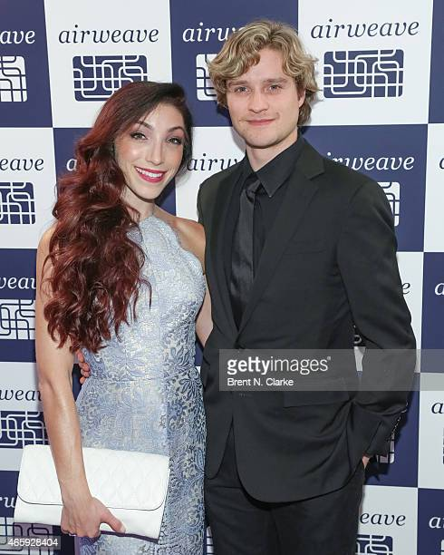 Olympic Gold Medal ice dancing champions Meryl Davis and Charlie White arrive for the Airweave Soho Store Opening at Airweave on March 11 2015 in New...