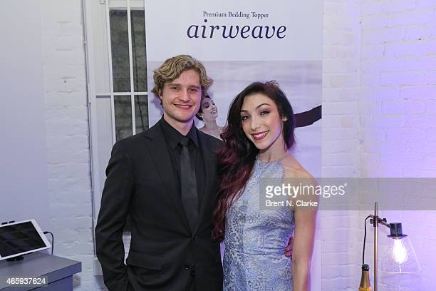 Olympic Gold Medal Ice Dancing champions Meryl Davis and Charlie White attend the Airweave Soho Store Opening at Airweave on March 11 2015 in New...
