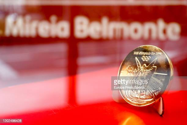 Olympic Gold Medal of Mireia Belmonte during her medal exhibition opening at the Santander Work Cafe Recoletos of Banco Santander on January 29 2020...
