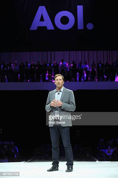 Olympic Gold Medal Skier Bode Miller speaks onstage at the 2014 AOL NewFronts at Duggal Greenhouse on April 29 2014 in New York New York